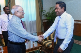 President Yameen (R) and President Maumoon pictured together PHOTO:President Office
