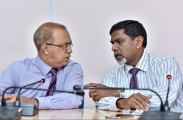 Maldives Media Council's President Mueed (L) and his deputy Abeer at a press conference. PHOTO: NISHAN ALI/MIHAARU