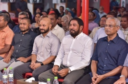 Some top opposition leaders pictured together at an opposition rally PHOTO: Mihaaru File