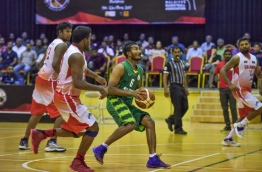 Captain Mohamed Zilal of Maldives National Basketball Team pictured in the SABA Championship match against Sri Lanka on May 23, 2017. PHOTO: NISHAN ALI/MIHAARU