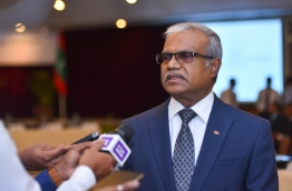 Foreign Minister Dr Mohamed Asim speaks to reporters about the Maldives-EU Policy Dialogue 2017. PHOTO: HUSSAIN WAHEED/MIHAARU