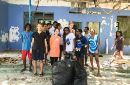 With Save the Beach team, after a clean-up of Villimale' beach. PHOTO/SAVE THE BEACH MALDIVES