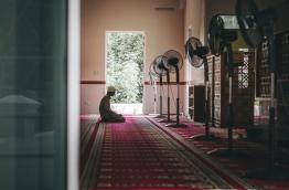 A man prays in a mosque in G.A. Kanduhulhudhoo. PHOTO/AISHATH NAJ