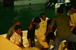 An injured person being brought to Male PHOTO:Hussain Waheed/Mihaaru