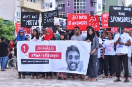 A rally held in protest of the murder of Yameen Rasheed. PHOTO: HUSSAIN WAHEED/MIHAARU