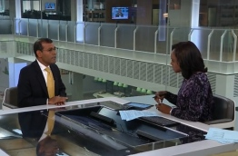Screen grab of former President Nasheed's interview to Sky News regarding the US' withdrawal from the Paris Agreement.