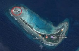 Satellite image of the uninhabited island near Shangri-la Resort.