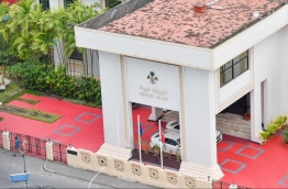 The entrance to People's Majlis, the parliament chamber of the Maldives.