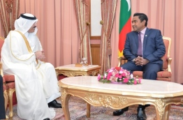 President Abdulla Yameen (R) meets with the Qatari Ambassador to the Maldives, Rashid Shafea Saeed Shafea Al Fahaida Al Marri. PHOTO/PRESIDENT'S OFFICE