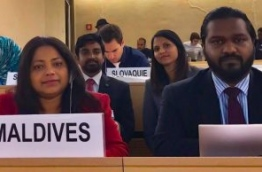 Permanent Representative of the Maldives to the UN, Dr Hala Hameed (L) at the 35th session of the UN Human Rights Council. PHOTO/MALDIVES EMBASSY