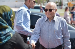 Former President Maumoon Abdul Gayoom at the presidential jetty before his departure to India. PHOTO: HUSSAIN WAHEED/MIHAARU