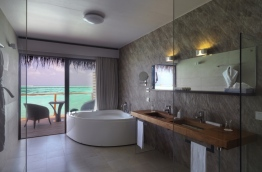 Bathroom of a water villa at Cocoon Maldives resort. PHOTO: HUSSAIN WAHEED/MIHAARU
