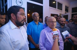 Opposition leaders pictured at Velana International Airport after receiving former President Maumoon PHOTO:Hussain Waheed/Mihaaru