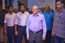 Former President Maumoon pictured at Velana International Airport after arriving in Maldives after three months abroad. PHOTO:Hussain Waheed/Mihaaru