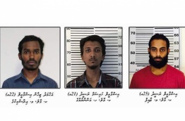 (L-R): Ahmed Zihan Ismail, Ismail Haisham Rasheed and Thaif Ismail Rasheed: Police stated that the three men actively took part in the murder of blogger Yameen Rasheed. PHOTO/POLICE