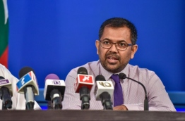 Tourism Minister Moosa Zameer speaks at press conference in President's Office. PHOTO: NISHAN ALI/MIHAARU