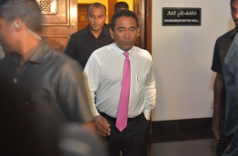 President Yameen leaves after chairing a PPM council sit-down MIHAARU PHOTO