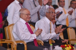 Former President Maumoon (L) sitting with MDP PG leader Ibrahim Mohamed Solih PHOTO: Hussain Waheed/Mihaaru