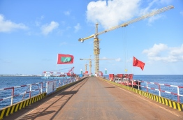 View along the China-Maldives Friendship Bridge being developed between Male and Hulhule. PHOTO: HUSSAIN WAHEED/MIHAARU