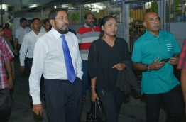 Jumhoory Party leader Qasim Ibrahim (L) with his lawyer Hisaan Hussain outside the Criminal Court after his trial ended. PHOTO: HUSSAIN WAHEED/MIHAARU