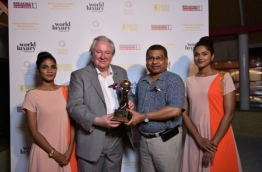 Coco Collection's Chairman and MD Shabeer Ahmed with Indian Ocean's Leading Boutique Hotel Brand award at the 2017 World Travel Awards Indian Ocean gala ceremony. PHOTO/COCO COLLECTION