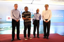 L-R: BML CEO Andrew Healy, Tourism Minister Moosa Zameer, MATI's Secretary General Ahmed Nazeer and American Express' Senior Vice President Manoj Adlakha. PHOTO/BML