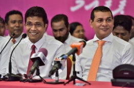 PPM PG leader Ahmed Nihan (L) pictured at a press conference held by the ruling coalition of PPM/MDA.