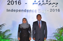 President Yameen (R) and First Lady Fathimath pictured at the official reception of Independence Day 2016. FILE PHOTO/PRESIDENT'S OFFICE
