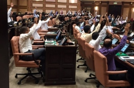 Lawmakers take roll-call vote amidst the chaos of the second motion of no confidence sought against Parliament Speaker Abdulla Maseeh. FILE PHOTO
