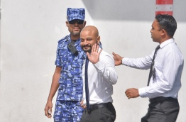 Dhiggaru MP Faris leaves the Criminal Court after his remand hearing. PHOTO: HUSSAIN WAHEED/MIHAARU