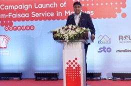 Ooredoo Maldives' then CEO Vikram Sinha speaks at the launching of Ooredoo m-Faisaa.