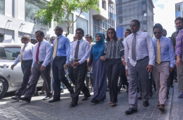 Opposition lawmakers on their way to Parliament on Monday