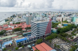 An aerial view of the Dhiraagu head office in the capital Male. MIHAARU FILE PHOTO