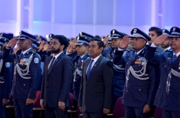 President Abdulla Yameen (C) and Home Minister Ahmed Azleen (L-2) pictured at a Police ceremony. FILE PHOTO/MIHAARU
