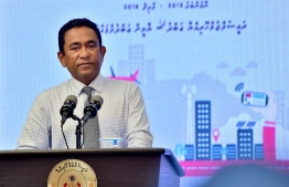 President Yameen speaking during a ceremony