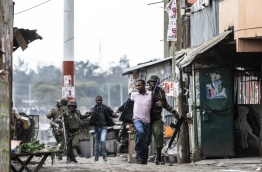 Kenyan police shot dead two protesters in the capital's flashpoint Mathare slum on August 9, as unrest broke out after opposition accusations that the general election was rigged, a senior officer told AFP. / AFP PHOTO / MARCO LONGARI