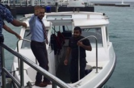 Maduvvari MP Mohamed Ameeth boards Police speedboat after appeal hearing at the High Court. PHOTO/SOCIAL MEDIA