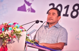 "President Yameen speaks at opening ceremony of his campaign hub ""Rumaalu 2"" for the Presidential Elections 2018. PHOTO: HUSSAIN WAHEED/MIHAARU"