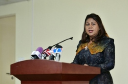 Dr Azeema Adam announces her resignation as the governor of MMA. PHOTO: HUSSAIN WAHEED/MIHAARU
