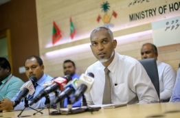 Housing minister Dr Mohamed Muizzu speaks during the press conference. MIHAARU PHOTO/MOHAMED SHARUHAAN
