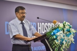 Universal Enterprises chairman Umar Manik speaking at the ceremony held to inaugurate the new hospitality course. PHOTO / MIHAARU