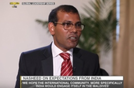 Screen grab of former President Mohamed Nasheed giving interview to WION.