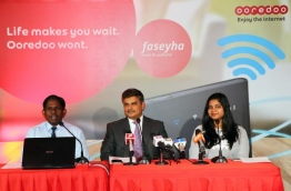 "Ooredoo Maldives' CEO Najib Khan (C) and other company officials pictured at the launching of ""Faseyha Home Broadband"". PHOTO/OOREDOO"