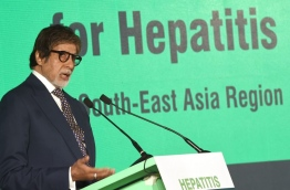 Indian Bollywood actor Amitabh Bachchan addresses an event in Mumbai on May 12, 2017, held to announce him as World Health Organization (WHO) goodwill ambassador for Hepatitis in South-East Asia. PHOTO/AFP