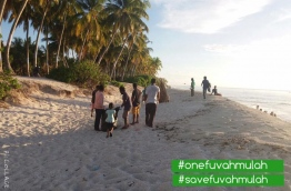 Volunteers of the OneFuvahmulah movement pictured during a beach clean-up. PHOTO/ONEFUVAHMULAH