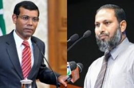 Jailed former president Mohamed Nasheed (L) and Adhaalath Party leader Sheikh Imran Abdulla.