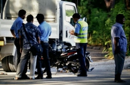 Police officers on scene of an accident in Hulhumale.