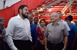 Former president Maumoon Abdul Gayoom (R) with Jumhoory Party's (JP)leader Qasim Ibrahim (L) at a gathering held in JP's official party camp Kunooz. PHOTO / MIHAARU