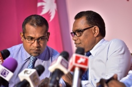Ruling Progressive Party of Maldives (PPM) Secretary-General and Nilandhoo MP Abdullah Khaleel (L) with the party's deputy leader and Fonadhoo MP Abdul Raheem Abdullah at a press conference held at the party's headquarters on September 12, 2017. MIHAARU PHOTO / NISHAN ALI