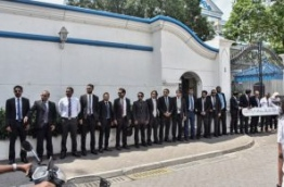 The 50 lawyers who signed the petition lined up in front of the Supreme Court. PHOTO / MIHAARU
